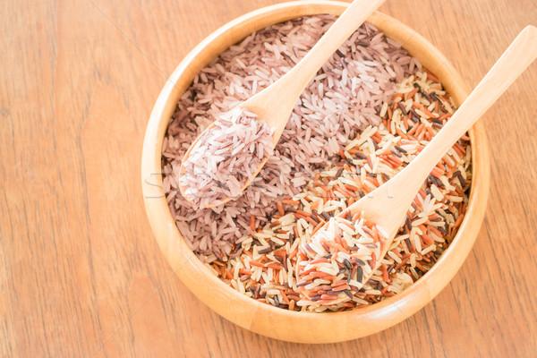 Organic multi whole grain of jusmine rice Stock photo © nalinratphi
