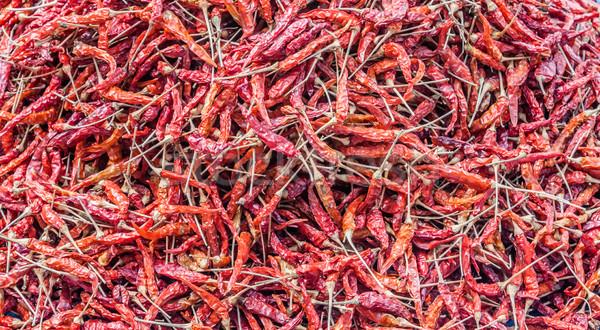 Gedroogd Rood peper display lokaal markt Stockfoto © nalinratphi