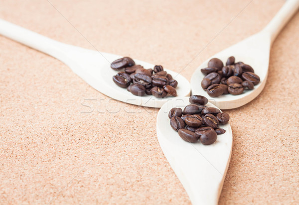 Grão de café madeira colheres textura amor natureza Foto stock © nalinratphi