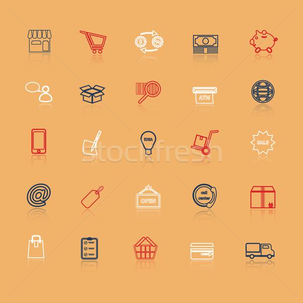 Internet entrepreneur line icons with reflect Stock photo © nalinratphi