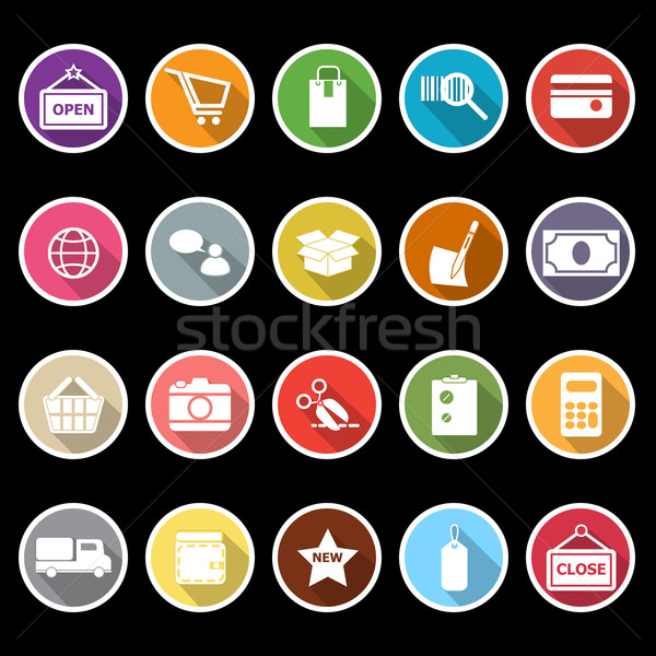 Shopping icons with long shadow Stock photo © nalinratphi