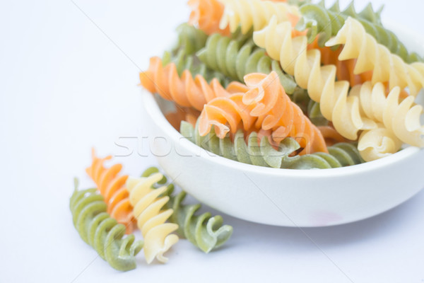 Multicolor fusilli prepare for pasta cuisine Stock photo © nalinratphi