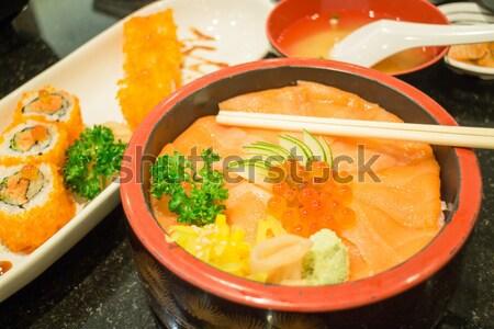 Japon pirinç kutu somon sashimi stok Stok fotoğraf © nalinratphi
