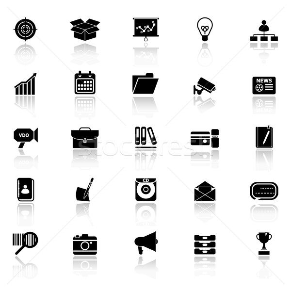 Data and information icons with reflect on white background Stock photo © nalinratphi