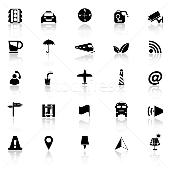Map sign icons with reflect on white background Stock photo © nalinratphi