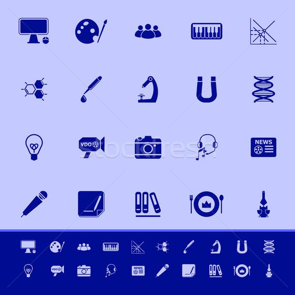 Algemeen leren kleur iconen Blauw voorraad Stockfoto © nalinratphi