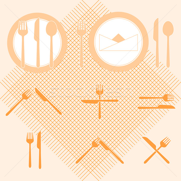 Plate orange color icons with fork and knife sign Stock photo © nalinratphi