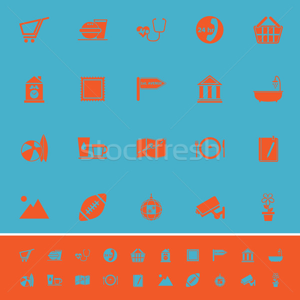 Public place sign color icons on light blue background Stock photo © nalinratphi