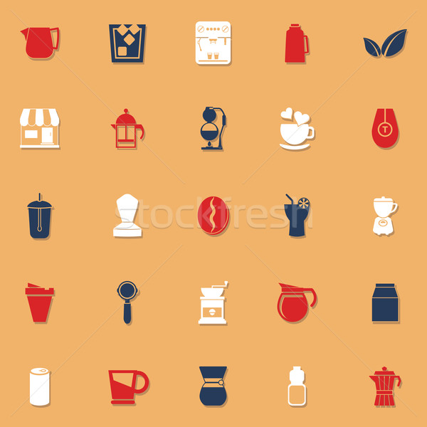Coffee and tea classic color icons with shadow Stock photo © nalinratphi