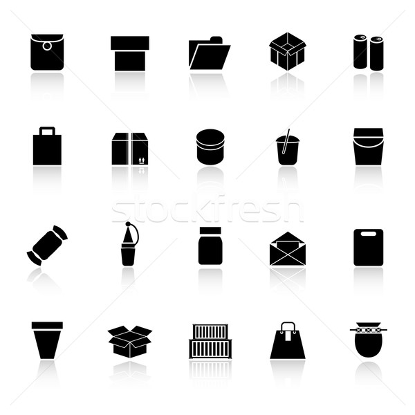 Package icons with reflect on white background Stock photo © nalinratphi