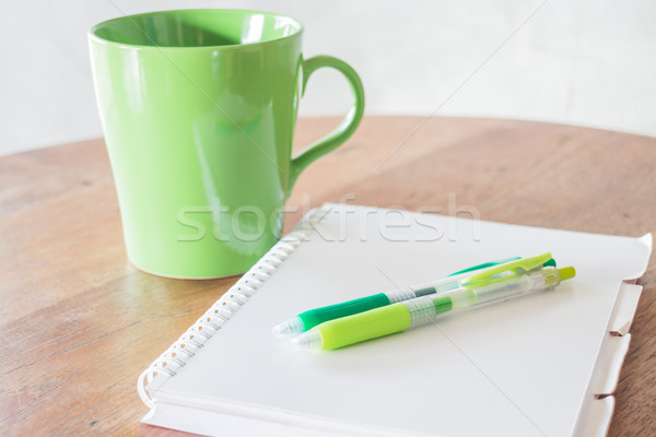Set of work table with hot cup Stock photo © nalinratphi