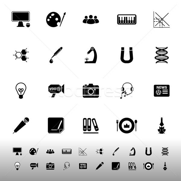 Geral aprendizagem ícones branco estoque vetor Foto stock © nalinratphi