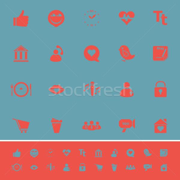 Chat párbeszéd szín ikonok kék stock Stock fotó © nalinratphi