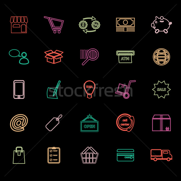 Internet entrepreneur line icons flat color Stock photo © nalinratphi