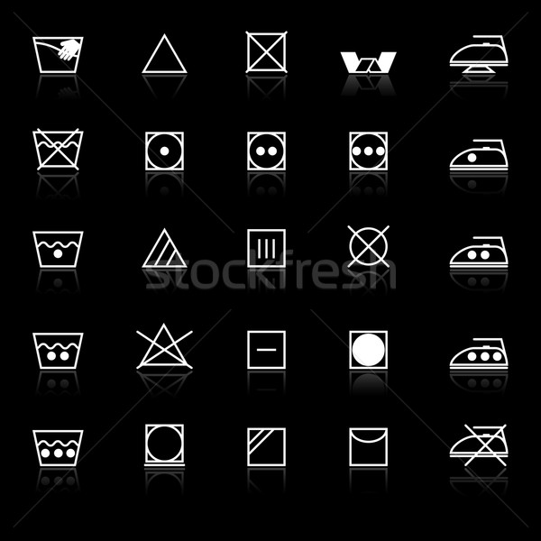 Fabric care sign and symbol icons with reflect on black backgrou Stock photo © nalinratphi