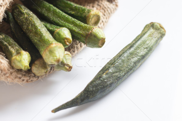 Stock photo: Healthy okra chips on clean background