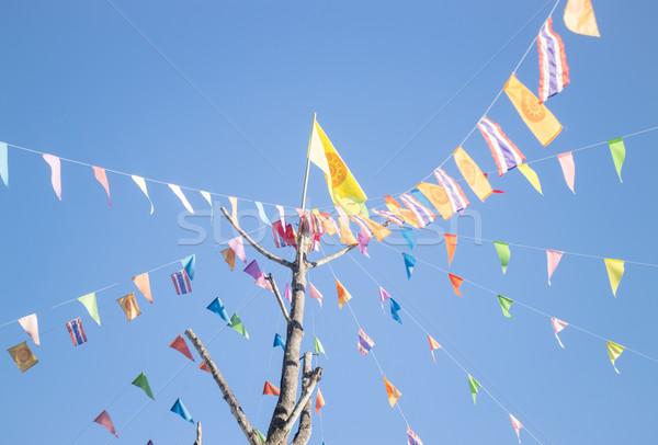 Kleurrijk vlaggen boeddhisme ceremonie thai tempel Stockfoto © nalinratphi