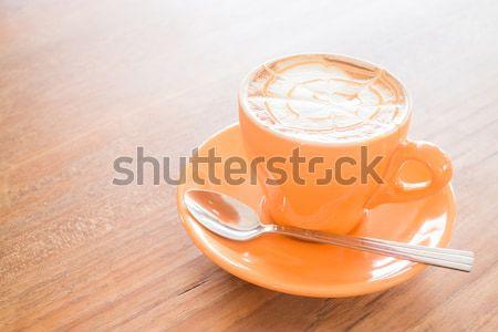 Hot caramel coffee latte cup Stock photo © nalinratphi