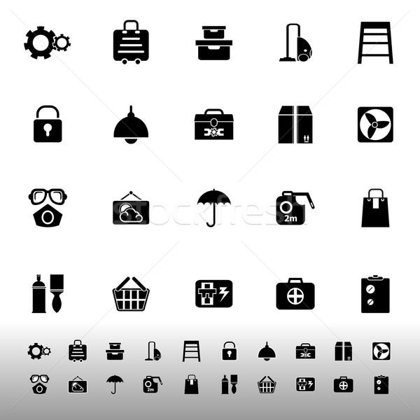 Home stoccaggio icone bianco stock vettore Foto d'archivio © nalinratphi
