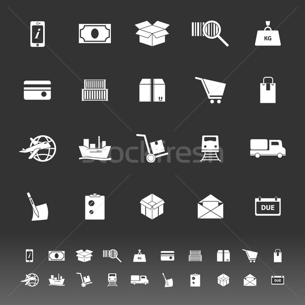 Shipment icons on gray background Stock photo © nalinratphi