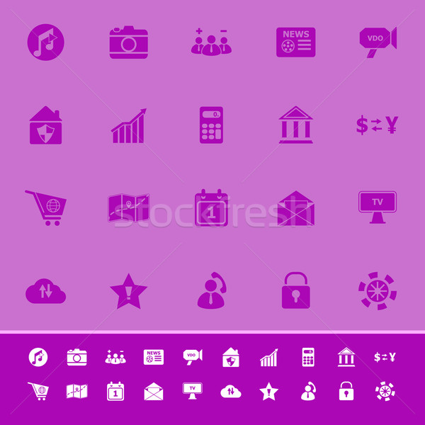 Color iconos púrpura stock vector Foto stock © nalinratphi