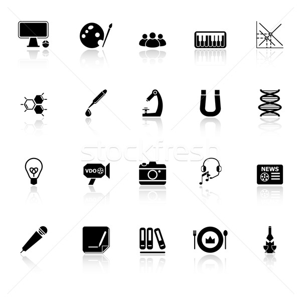 General learning icons with reflect on white background Stock photo © nalinratphi