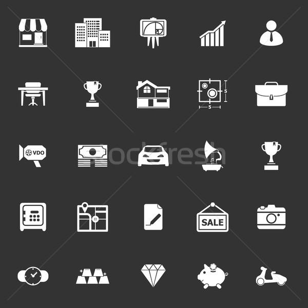 Nieruchomości ikona szary czas wektora Zdjęcia stock © nalinratphi
