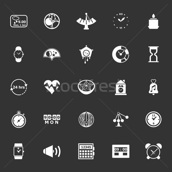 Design time icons on gray background Stock photo © nalinratphi