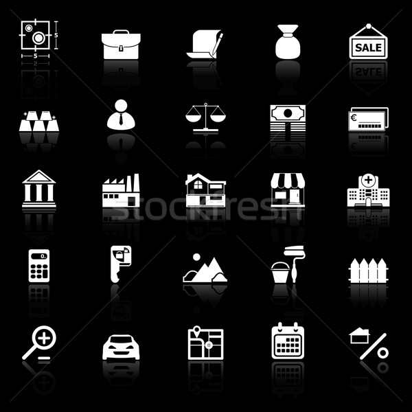 Mortgage and home loan icons with reflect on black background Stock photo © nalinratphi