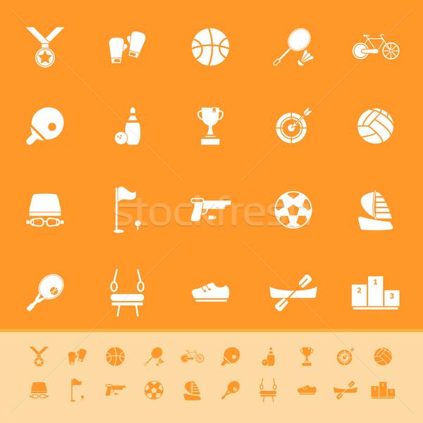 Sport spel atletisch kleur iconen oranje Stockfoto © nalinratphi