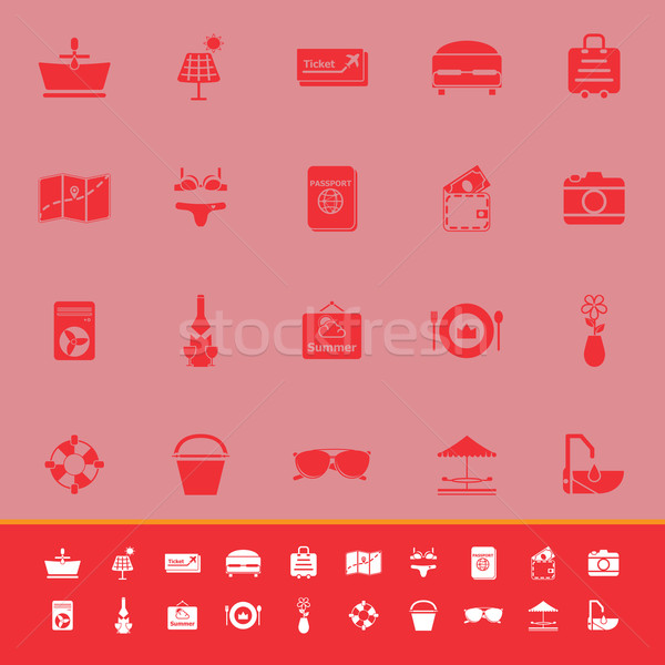Summer color icons on red background Stock photo © nalinratphi