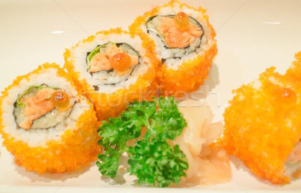 Wędzony łosoś sushi toczyć tablicy czas Fotografia Zdjęcia stock © nalinratphi