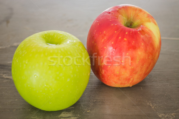 Green and red apple on the table Stock photo © nalinratphi