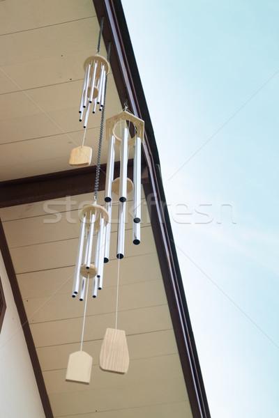 Oriental wind bells and blue sky Stock photo © nalinratphi