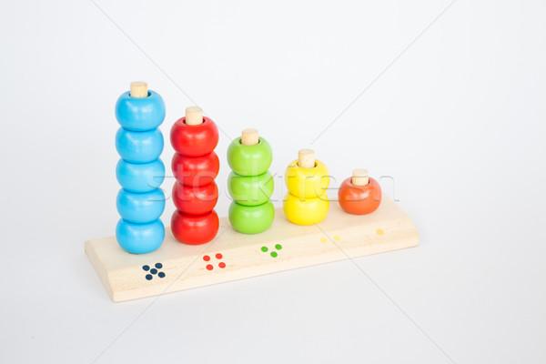 Colorido brinquedo de madeira branco tabela estoque foto Foto stock © nalinratphi