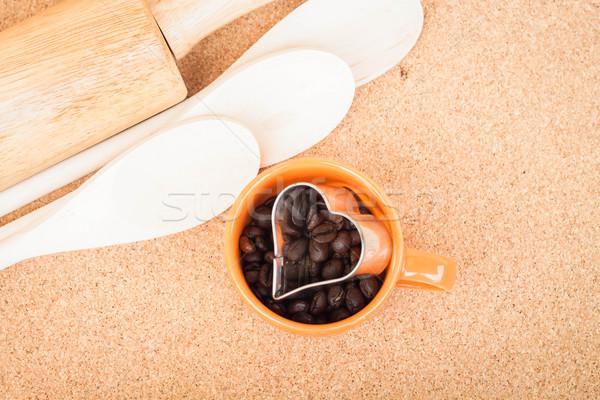 Csésze kávébab sütik konyha textúra szeretet Stock fotó © nalinratphi