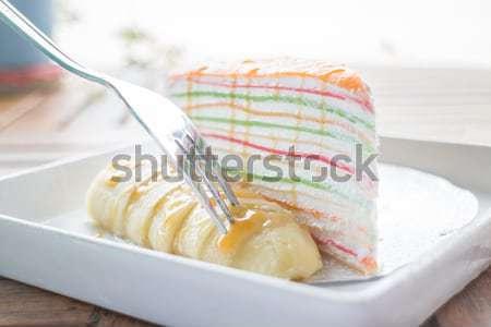 Slagroom crêpe cake banaan voorraad foto Stockfoto © nalinratphi