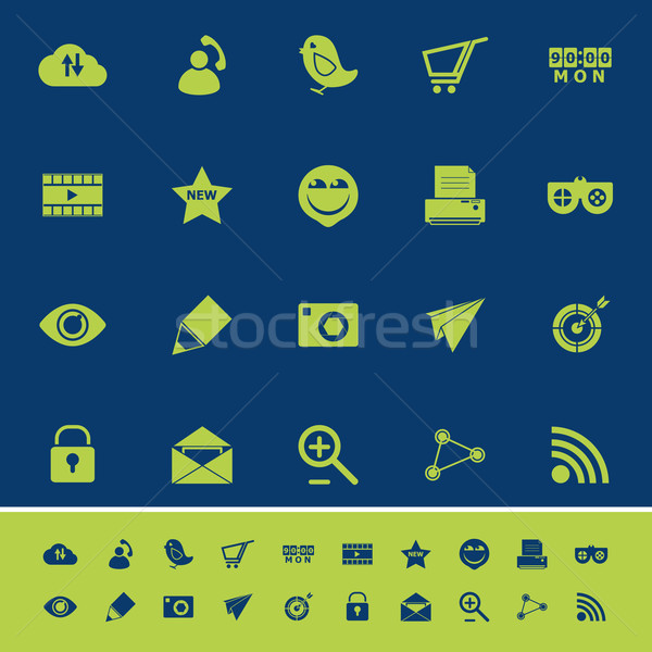 Internet useful color icons on blue navy background Stock photo © nalinratphi