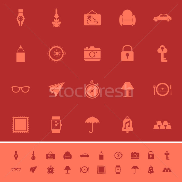 Vintage collection color icons on maroon background Stock photo © nalinratphi