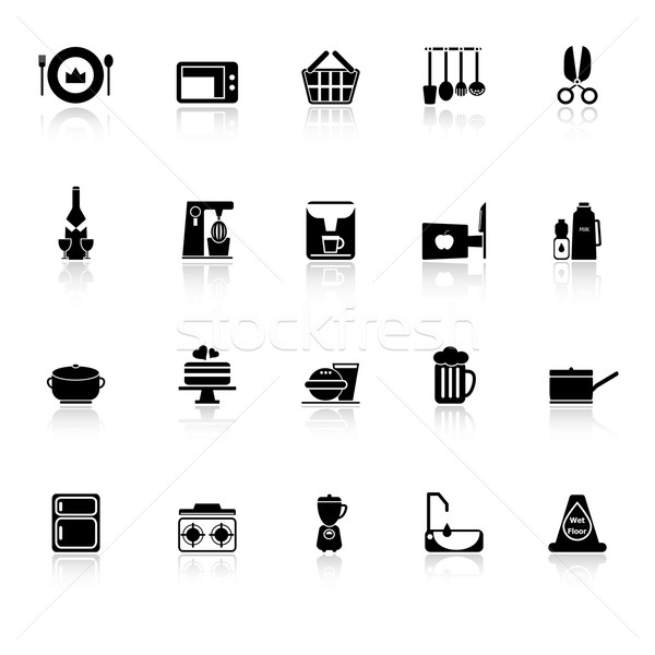 Home kitchen icons with reflect on white background Stock photo © nalinratphi