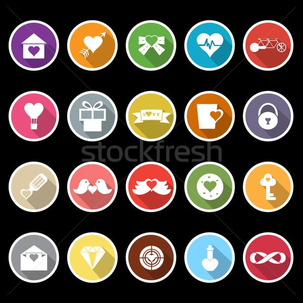 Liefde hart iconen lang schaduw voorraad Stockfoto © nalinratphi