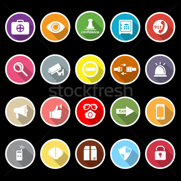 Stock photo: Security icons with long shadow