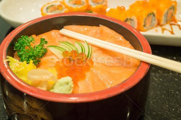 Japon somon sashimi sushi rulo stok Stok fotoğraf © nalinratphi