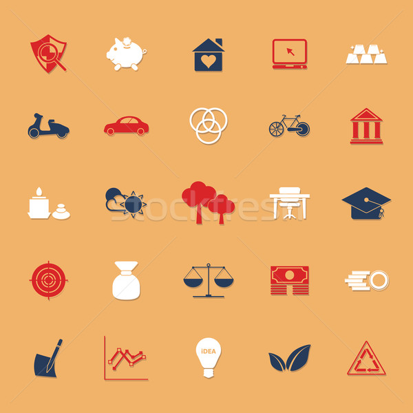 Sufficient economy flat icons with shadow Stock photo © nalinratphi