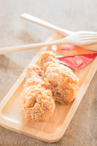 Fast food with fried chicken on a plate Stock photo © nalinratphi