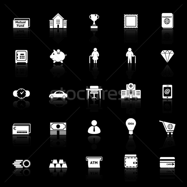 Personal financial icons with reflect on black background Stock photo © nalinratphi