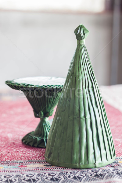 Stock photo: Handmade rituals cone from artificial banana leaf