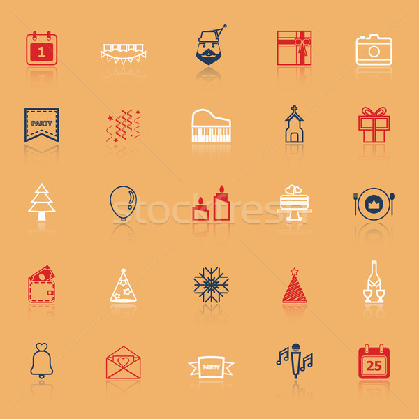Christmas and new year line icons with reflect Stock photo © nalinratphi