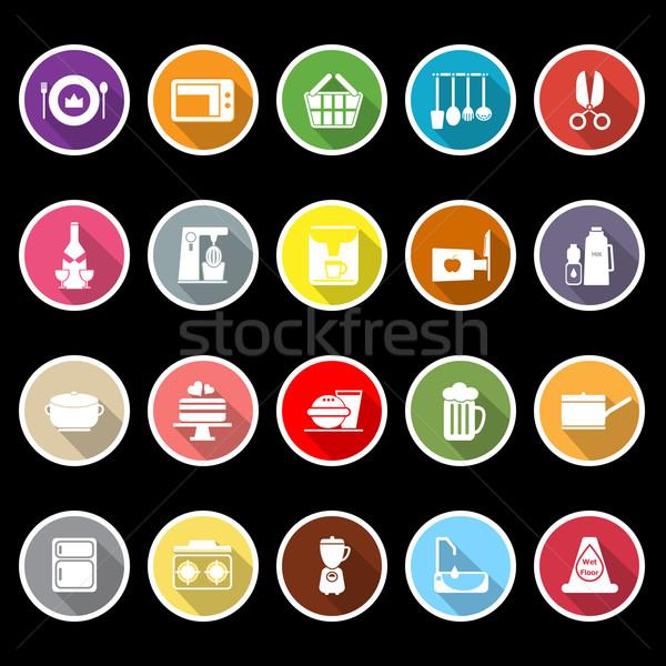 Home keuken iconen lang schaduw voorraad Stockfoto © nalinratphi