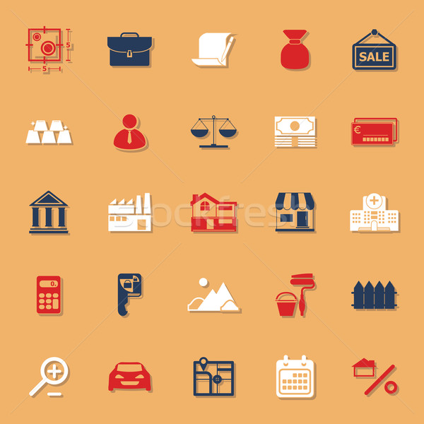 Mortgage and home loan classic color icons with shadow Stock photo © nalinratphi